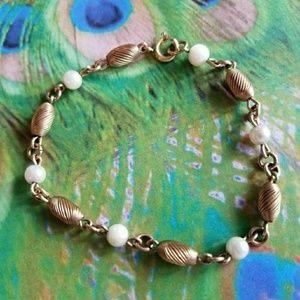 Vintage gold filled white bead bracelet faux pearl